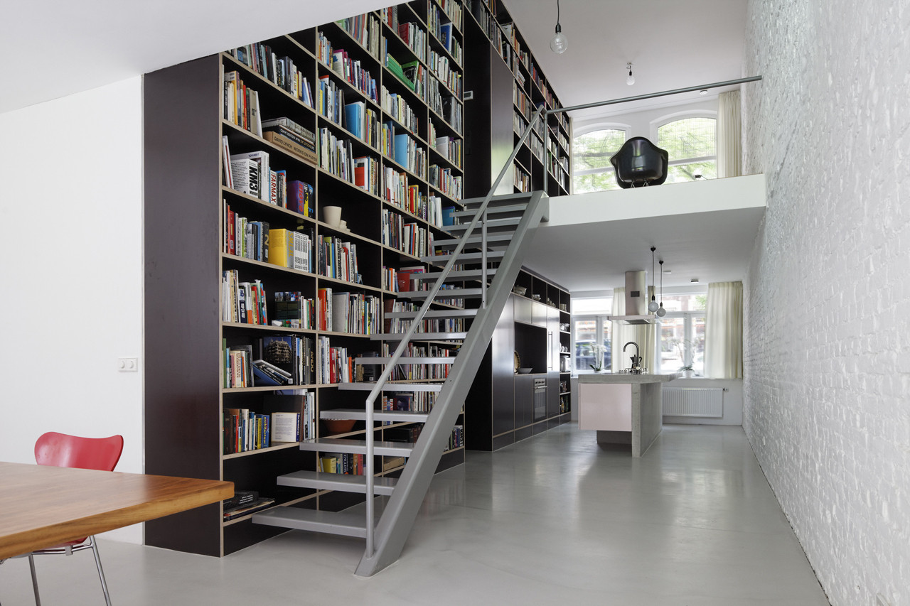 Floor To Ceiling Bookcase In Rotterdam Loft Apartment