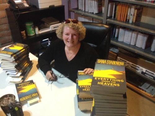 This is me signing all your pre-orders at the Poisoned Pen yesterday, and thank you for those!