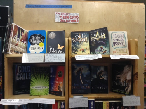 The Teen Corps Bookshelf at the Homer Bookstore. Teen-approved YA titles!