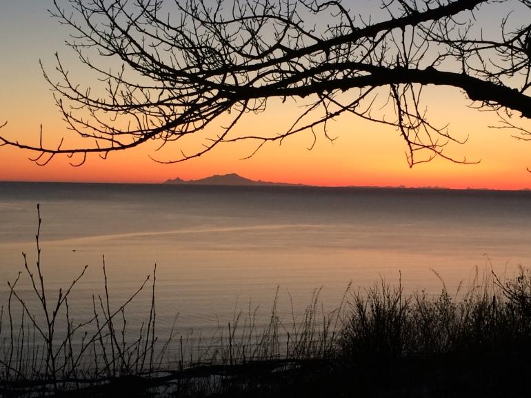 Sunset behind Mt. Douglas.