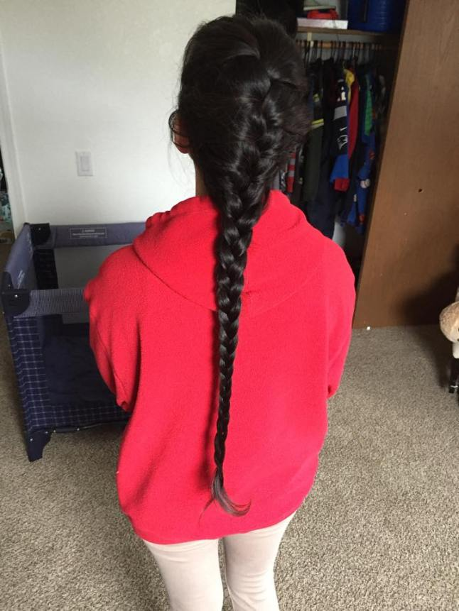 This braid graciously provided by my niece, Angelique. She's not going to cut hers off, though.